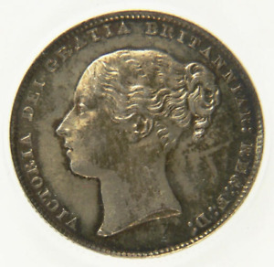 1865 AU Great Britain Queen Victoria Shilling Coin Die Number 49 CGS 70, MS60-61