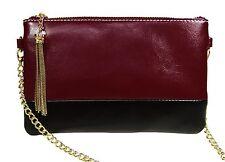 BURGUNDY and BLACK GENUINE LEATHER 2-tone handbag clutch,shoulder bag,wristlet