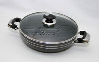 HQ Una 24cm Induction Compatible Non Stick Wok Frying Pan Sauce With Glass Lid