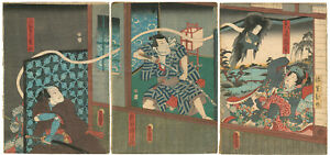 Genuine Original Japanese Woodblock Print Toyokuni III Triptych Ghost