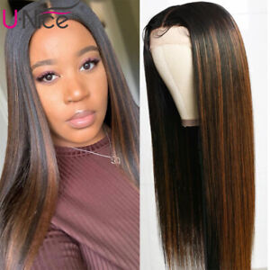 Malaysian Straight Lace Front Human Hair Wig Blonde Ombre 150% Density Highlight