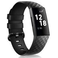 Ersatz Silikon Armband in Schwarz für Fitbit Charge 3 / 4 Fitness Sport Tracker