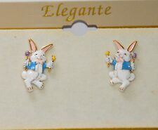 Easter Bunny w Chick & Egg Post Earrings in Gold-tone Set / Easter Jewelry / NWT