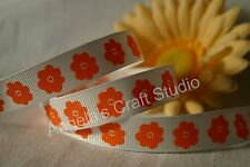 "1 Metre ORANGE / WHITE FLOWER 16mm (5/8"") Grosgrain Ribbon - Hair Bow Sew Trim"