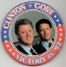 "3"" 1992 Clinton Gore VICTORY IN '92 Campaign Button original NOT a reprint"
