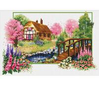 NEEDLE ART WORLD NO COUNT CROSS STITCH ON WHITE english cottage stream 42 x 25cm