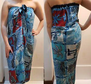 Mumu Sarong Blue Coco Palms Tube Dress Bali Boho Hippy Beach Sz S M L XL 10-22