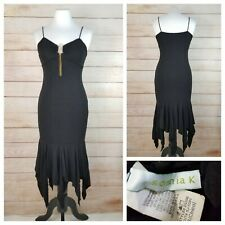 Sonnia K S Black Sparkling Dress Ruffled Hem Spaghetti Straps Rhinestones Chains
