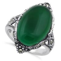 Oval Green Agate Marcasite 925 Sterling Silver Ring Size UK-Q, US-8, EU-56