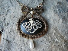 OCTOPUS HAND PAINTED CAMEO STATEMENT NECKLACE, GLASS PEARLS - VACATION, NAUTICAL