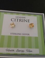 New Genuine Citrine Stone Sterling Silver Stud Earrings 925 Solid