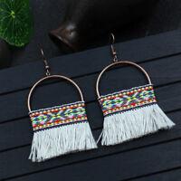 New Fashion Bohemian Round Hollow Tassel Drop Dangle Women Ethnic Earrings