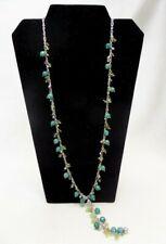 Lucky Brand Blue Green Beaded Boho Long Necklace
