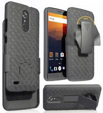 Black Kickstand Case Cover + Belt Clip Holster for ZTE Max Duo 4G LTE (Z963VL)