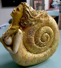 More details for annomite shell mermaid with gold leaf nautical figurine