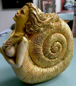 Annomite Shell Mermaid With Gold Leaf Nautical Figurine