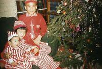 CHRISTMAS KIDS Vintage 35mm FOUND SLIDE Transparency TREE Photo 09 T 10 R