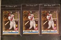 Lot of (3) 2019 Topps Ronald Acuna Jr. Rookie cup #US271 Gold serial #/2019 MVP
