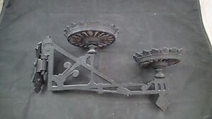 VINTAGE CAST IRON DOUBLE WALL SCONCE WITH BRACKET OIL LAMP HOLDER SWING ARM