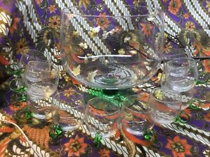 Vintage Sussmuth Hand Blown 13 pc Crystal & Green Glass Punch Bowl & Cup