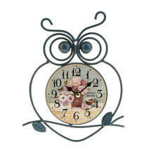 Ticking Owl Shaped Wall Clock Battery Operated Metal Wall Art Watch Mute Silence