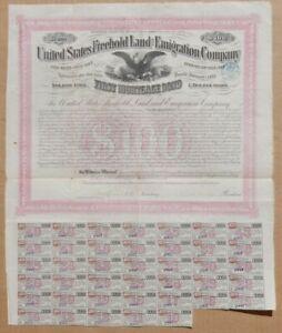 1870 BOND Certificate 🚩 United States Freehold Land & Emigration Co. COLORADO