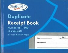 Duplicate RECEIPT Book Page Numbered 1-100 with 2 Sheets of Carbon Paper CPG/125