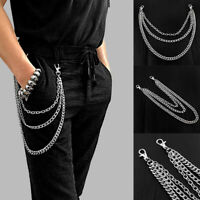 3 Layers Stainless steel Men Trouser Pant Wallet  Belt Ring Chain Punk Keyr ou