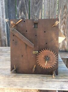 Antique American Wooden Works Tall Case Clock Movement