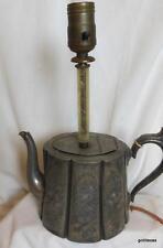 "Very Old Britannia  Metal Tea Pot Lamp 12"" Socket to Base Sparrow"