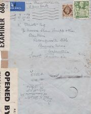 G.B. 1942 Air mail caover f.w. 1/- and 2s 6d from Wimslow to Argentina