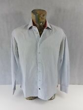 "Tommy Hilfiger Mens Shirt White Striped Fitted Long Sleeve 100% Cotton 39"" <A1.3"