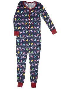 Love Loungewear Juniors Christmas Lights Navy Cotton One-Piece Pajamas Large