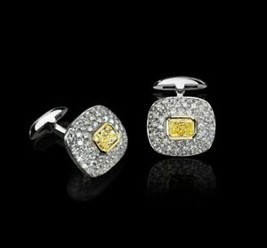 Cuff Links For Men's Jewelry With Yellow Radiant Cushion Stone In 935 Silver