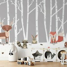 Paper wallpaper 368x254cm Forest animals nursery photo wall mural for bedroom