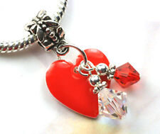 Red Heart Dangle Charm Beads w Swarovski Elements European Style