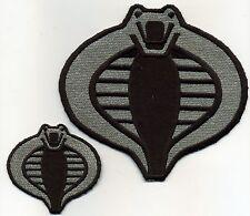 "GI Joe Cobra Commander Officer Style 6"" Black & Silver Embroidered Patch Set [2]"