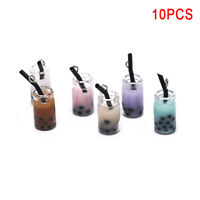 10Pcs/Set Resin Pearl Milk Tea Bottle Charms Pendant DIY Craft Jewelry Mak JR