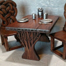 Dollhouse Miniature Carved Wizard Table Druid Tree, Celtic Knot Artisan Made