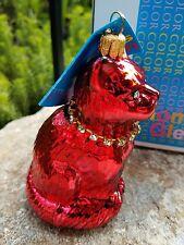 Glass Christmas Ornament Red Cat Rhinestone Necklace Thomas Glenn NIB Glamorous