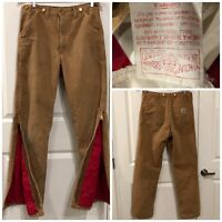 Vtg CARHARTT Brown QUILT LINED Duck Canvas Insulated Distressed Pants 34 X 34