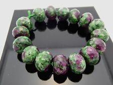 """Ruby Zoisite Faceted Rondelle Pink Green Gemstone 16 Beads 7.5"""" Strand 16mm"""
