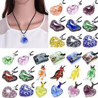 Fashion Lampwork Murano Glass Heart Butterfly Flower Necklace Pendant Women