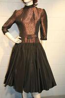 S Vintage 1940s 1950s Dress 40s 50s PARTY GOWN BRONZE METALLIC Satin Skirt