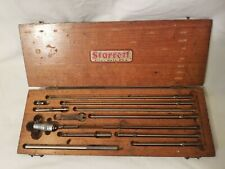 Vintage Starrett 124 Micrometer Set 2 12 001 Withoriginal Wood Box And Tool