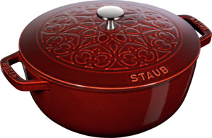 Staub Cast Iron 5-qt Essential French Oven with Lilly Lid - Visual