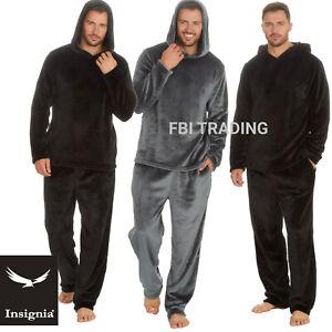 Mens Pyjamas New Shimmer Fleece Lounge Wear Winter Warm -HOODED