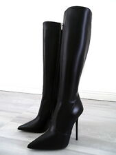 HOHE LEDER STIEFEL SCHWARZ ITALY ANOUK BOOTS R68 BEST LEATHER HIGH HEELS 35-45