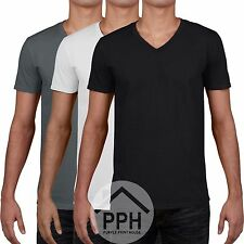 3 Pack Gildan Soft Mens V Neck T Shirt Plain Wholesale Work wear Tshirt Top SALE