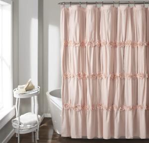 """Lush Decor Blush Darla Ruched Floral Bathroom Shower Curtain 72"""" x 72"""""""